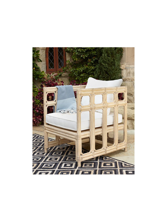 Horchow - Faux-Bamboo Chair - Exclusively ours. Outright inspired, alfresco entertaining is more inviting with this outdoor chair and ottoman crafted to resemble bamboo. Cushion sold separately. Chair hand cast of crushed stone/polyester resin/styrene/fiberglass with hand-painted...