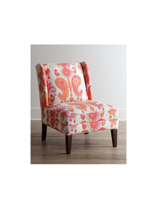 """Horchow - Fruitata Chair - Make of it what you will, this classic armless chair boasts a fun print in bold colors to brighten your decor as it provides welcome seating. Frame made of select hardwoods. Linen/rayon upholstery. 34""""W x 26""""D x 36""""T. Made in the USA. Boxed weight,..."""