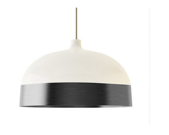 Innermost - Glaze 56 Pendant - The Glaze 56 Pendant features a Charcoal or Copper shade and a Cream finish. One 100 watt 120 volt A19 type medium base bulb is required, but not included. 22 inch diameter x 13 inch height. Cable is included for a maximum overall length of 170.5 inches.