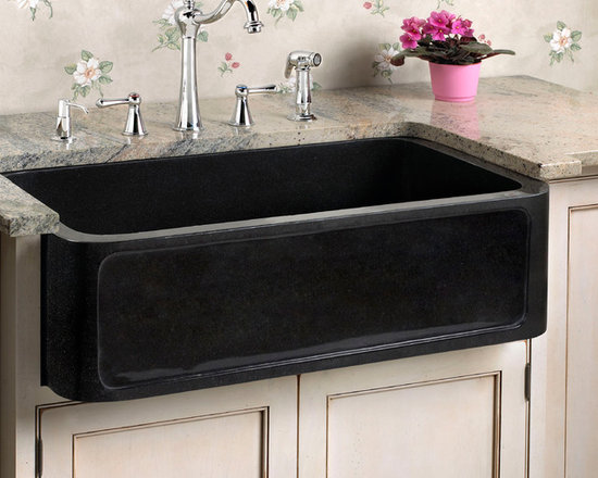 Fresh Farmhouse Sinks - Polished Granite Single Bowl Farmhouse Sink with Recessed Front, Signature Hardware
