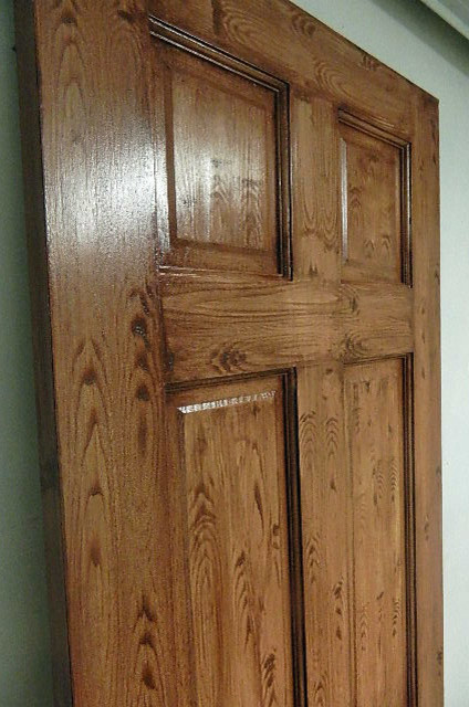 Faux wood grain finish contemporary front doors for Faux wood front doors