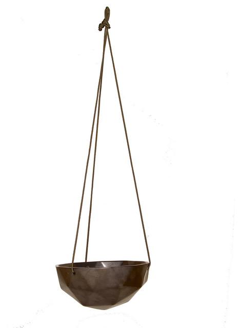 Hanging Geo Planter 9 Gunmetal Modern Outdoor Pots