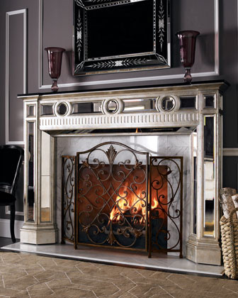 Mirrored Mantel traditional-fireplace-accessories