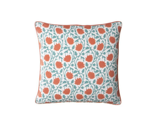 "John Robshaw - John Robshaw ""Pintail"" Outdoor Pillow - An eclectic collection of fun patterns in bright colors makes this pillow collection perfect for adding splashes of color to both indoor and outdoor settings. Pillows are listed as shown front to back. Made of polyester with polyester inserts. Piped e..."