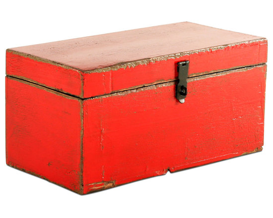 Vintage Red Wooden Box - Keep all of your prized possessions tucked away in this gorgeously rustic vintage wooden box. Each box is uniquely one of a kind and will add a shabby chic touch to any room. It's ideal for a den, bedroom or guest room and is great for storing blankets too!