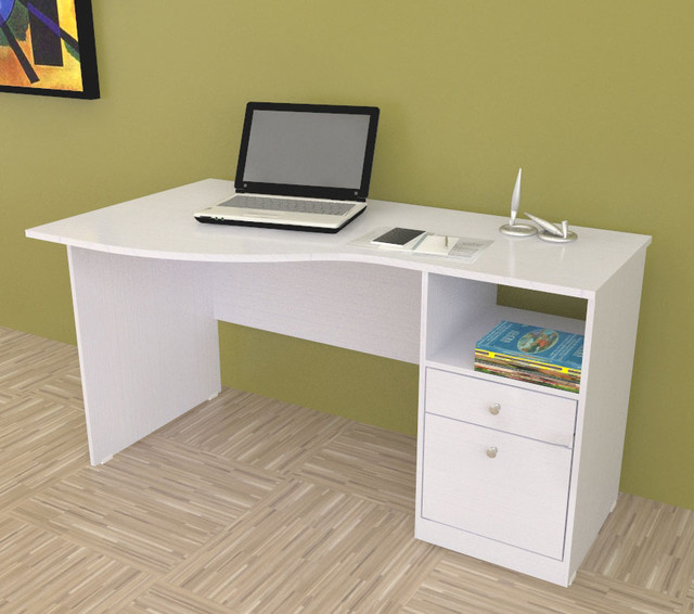 modern white desk with drawers