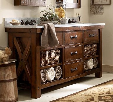 Benchwright Double Sink Console, Rustic Mahogany stain - Traditional - Bathroom Vanity Units ...