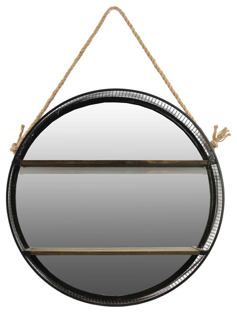 metal round wall shelf with mirror backing rope hanger. Black Bedroom Furniture Sets. Home Design Ideas