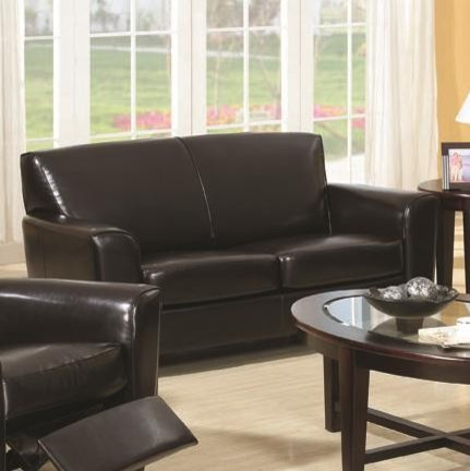 Quince Brown Bonded Leather Love Seat with Exposed Wood Legs traditional-loveseats
