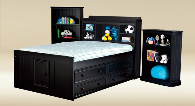 Full size kids captain bed with bookcase by good trading modern other metro by adarn - Full size captain beds ...