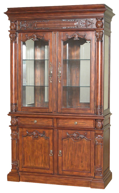 7.5Ft Tall Mahogany China Hutch Lighted Curio Display Showcase Cabinet - Traditional - China ...