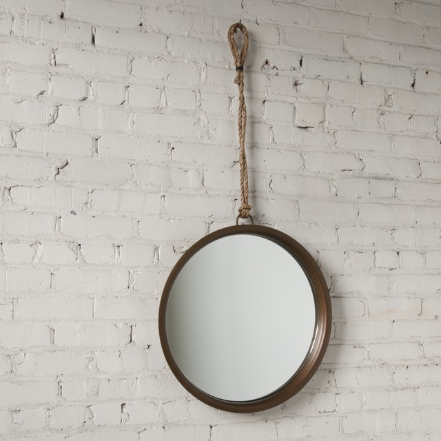 Higgins Round Mirror With Rope Hanger rustic-mirrors