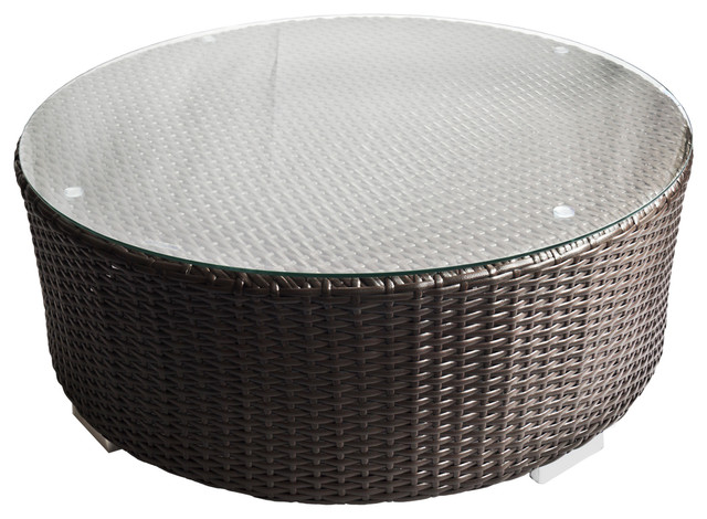 Outdoor Wicker Round Coffee Table With Glass Top Short Round Table Contemporary Outdoor