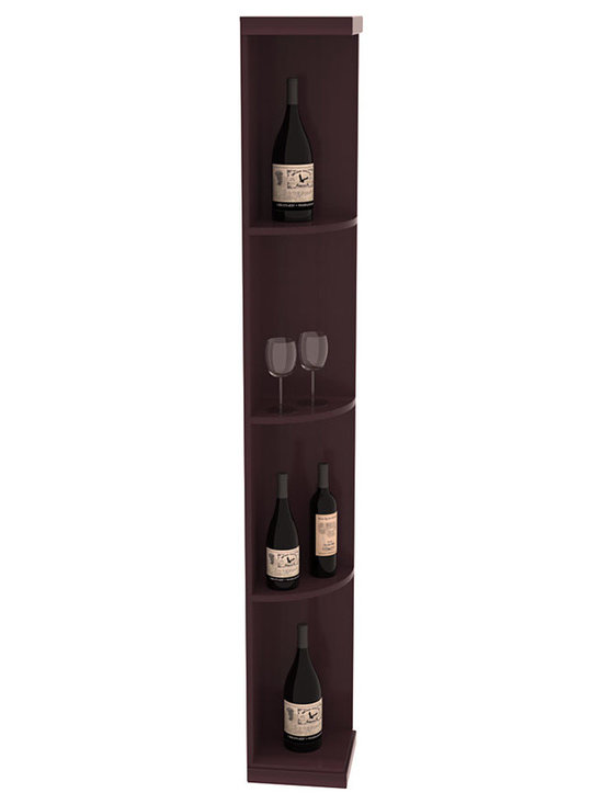 Quarter Round Wine Display in Redwood with Burgundy Stain + Satin Finish - Highly decorative Quarter Round Wine Displays are the perfect solution to racking around corners. Designed with a priority on functionality, these wine storage units are excellent as end caps to walls of wine racking or as standalone shelving.