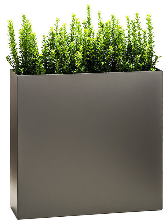 """Modern Planter - Partition Tower Planter, Pewter, Standard - The """"Partition"""" tower planter is a functional modern plant container that is nearly 3 feet in height (34"""") and narrow from front to back making it the perfect product to create a wall of plants or a partition to separate spaces."""