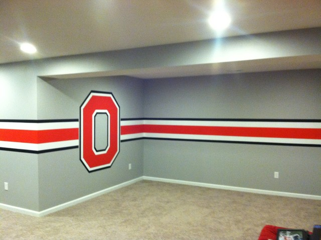 Ohio state themed basement for Ohio state bedroom paint ideas