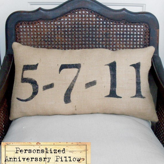 Remember The Day, Burlap Feed Sack Pillow By Nest Door To Heaven contemporary pillows