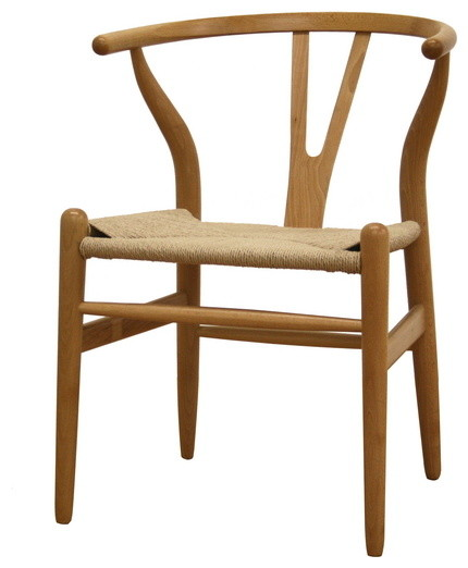 Baxton studio wishbone chair natural wood y chair for Natural wood dining chairs
