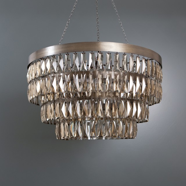 Smoke Crystal Shallow Chandelier Chandeliers Other Metro By