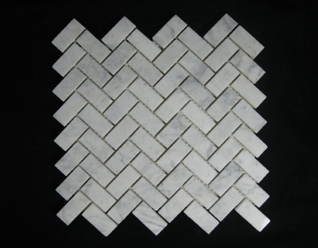 Bianco Carrara (White Carrera) Marble Tile Herringbone Mosaic Polish contemporary-floor-tiles