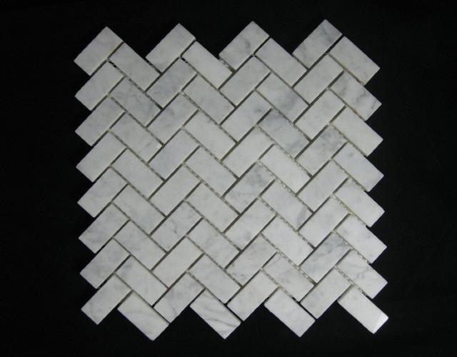 Bianco Carrara (White Carrera) Marble Tile Herringbone Mosaic Polish contemporary-wall-and-floor-tile