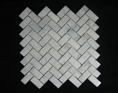 Bianco Carrara (White Carrera) Marble Tile Herringbone Mosaic Polish contemporary floor tiles