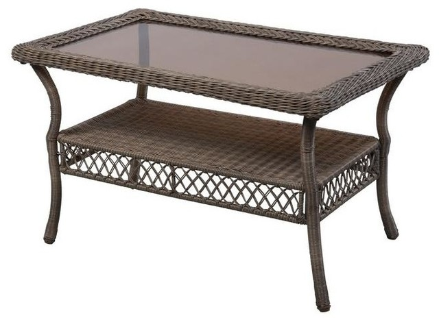 Hampton Bay Tables Spring Haven Grey Patio Coffee Table 65 20305 Contemporary Outdoor Dining