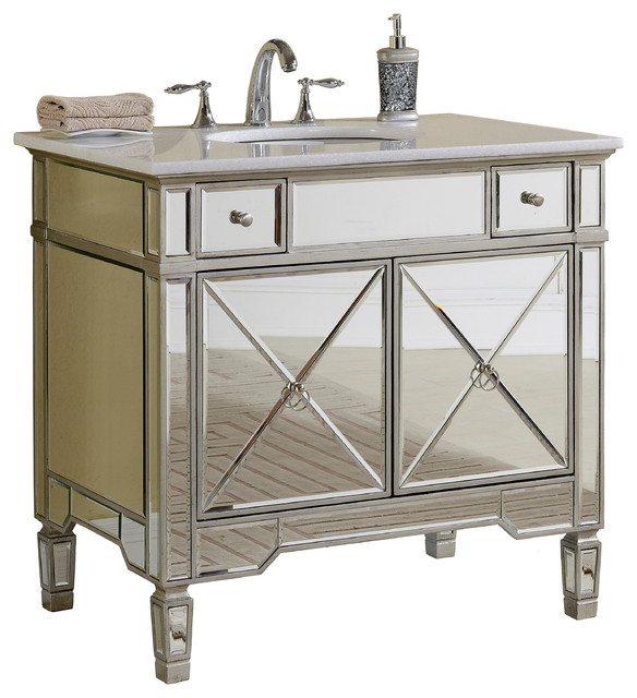 36 All Mirrored Reflection Ashlyn Bathroom Sink Vanity YR 023W 36 Tr