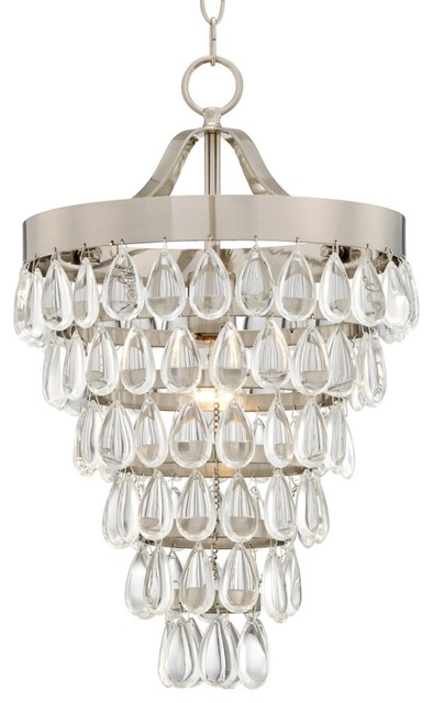 """Contemporary Brushed Steel and Crystal 12 1/2"""" Wide Pendant Light contemporary-pendant-lighting"""