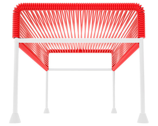 Adam Ottoman, White Frame With Red Weave - Sleek woven vinyl makes this coffee table stand really pop. It's a great option for indoor and outdoor use since the vinyl is UV protected and the metal base is galvanized. The only challenge would be deciding on your favorite color top to pair with the crisp white base.