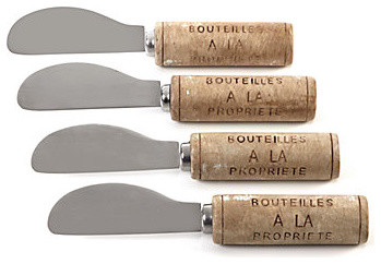 Wine Cork Spreaders contemporary-cheese-knives
