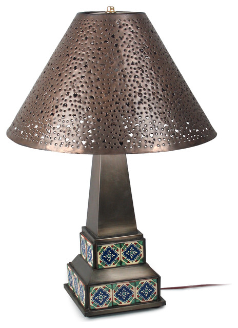 mexican aged tin talavera table lamp craftsman table lamps. Black Bedroom Furniture Sets. Home Design Ideas