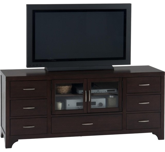 "Vienna Espresso 70"" TV Stand With 7 Drawers and 2 Tempered ..."