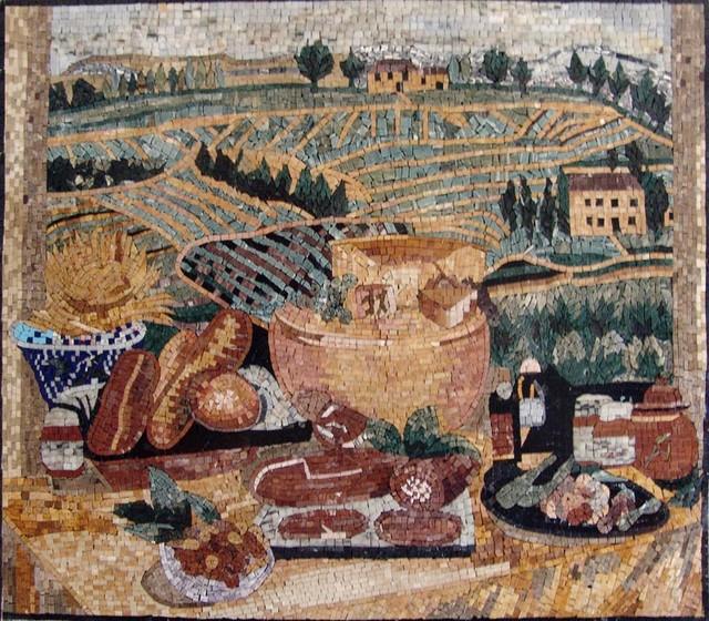 Custom Designed Handcrafted Kitchen Backsplash Marble Mosaics mediterranean-artwork