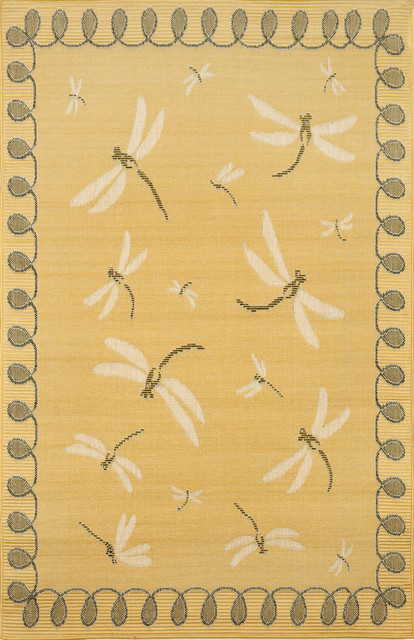 """Dragonfly Yellow Rugs 1746/59 - 39""""X59"""" contemporary-rugs"""