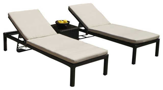 Outdoor patio wicker pool lounge all weather 3 piece resin for Belmont 4 piece brown wicker patio chaise lounge set