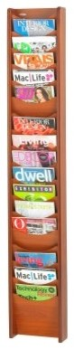 Safco Wood Literature Rack 18-Pocket - Cherry modern-baskets