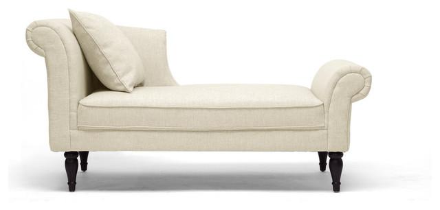 Lucille Beige Linen Victorian Chaise Contemporary