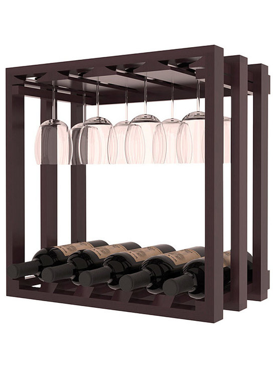Wine Storage Lattice Stemware Cube in Redwood with Burgundy Stain + Satin Finish - Designed to stack one on top of the other for space-saving wine storage our stacking cubes are ideal for an expanding collection. Use as a stand alone rack in your kitchen or living space or pair with the 20 Bottle X-Cube Wine Rack and/or the 16-Bottle Cubicle Rack for flexible storage.