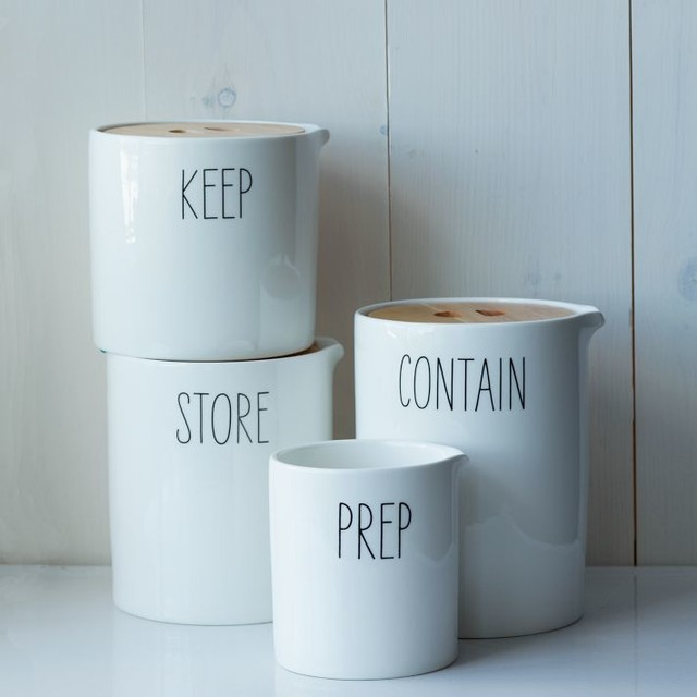 Labeled Kitchen Storage Canisters contemporary-kitchen-canisters-and-jars