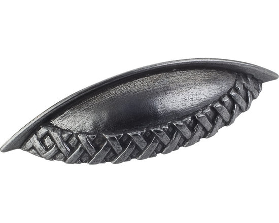 Jeffrey Alexander 3173-DACM Cabinet Cup Pull - Ashton Series - Gun Metal Finish - This gun metal finish cabinet/drawer cup pull with braided design is part of the Ashton Series from Jeffrey Alexander. Perfect for use on cabinet doors and drawers capable of accepting a mounted pull.