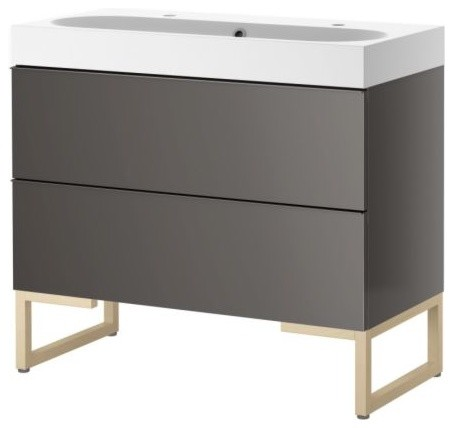 GODMORGON/BRÅVIKEN Sink Cabinet With Two drawers, Gray/Birch contemporary-bathroom-vanities-and-sink-consoles
