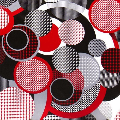 retro houndstooth laminate designer fabric circles dots fabric