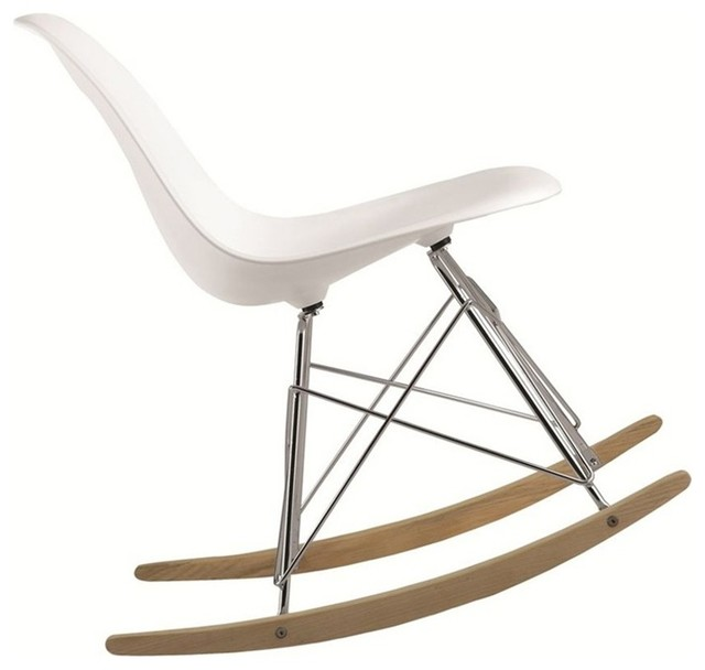Rocker side chair white modern rocking chairs by - Modern white rocking chair ...