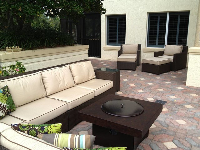 Patio Furniture Set with Gas Fire Pit Table Traditional Patio other met