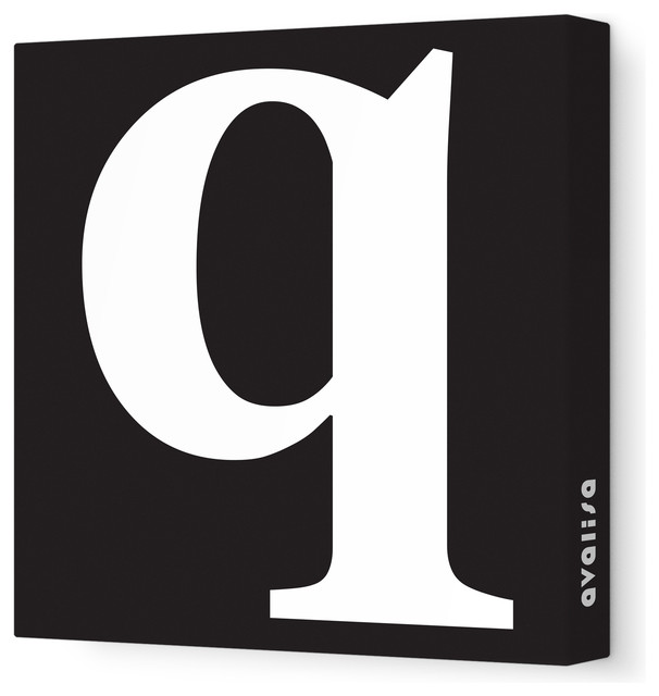 """Letter - Lower Case 'q' Stretched Wall Art, 28"""" x 28"""", Black modern-wall-letters"""
