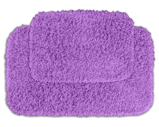 Sands Rug - Quincy Super Shaggy Purple Washable Runner Bath Rug (Set of 2) - Jazz up your bathroom, shower room, or spa with a bright note of color while adding comfort you can sink your toes into with the Quincy Super Shaggy bathroom collection. Each piece, whether a bath runner, bath mat or contoured rug, is created from soft, durable, machine-washable nylon. Floor rugs are backed with skid-resistant latex for safety.