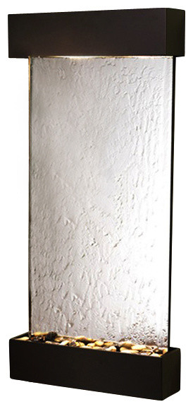 Whispering Creek Wall Fountain With Antiqe Bronze Trim and Silver Mirror contemporary-indoor-fountains