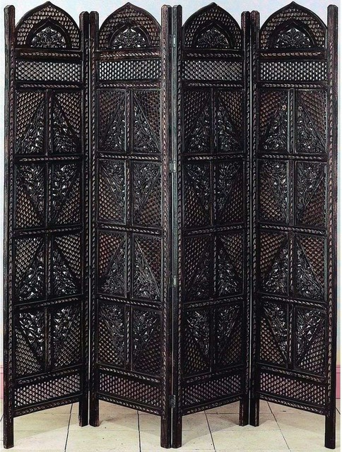 Wood 4 panel screen traditional screens and room Decorative hanging room dividers