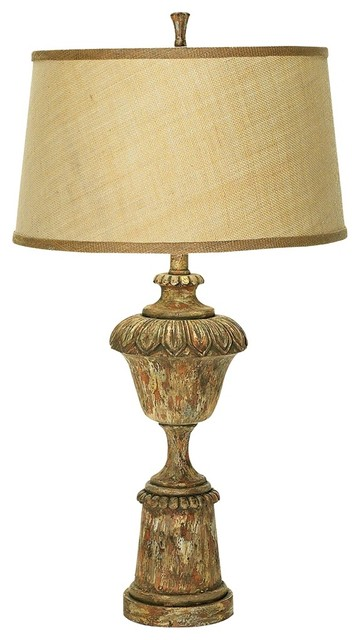 Traditional Aged Wood Finish Urn Table Lamp traditional table lamps